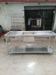 SS Work Table With Sink & 1 Undershelf