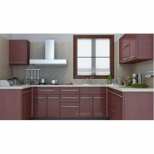 U Shape Modern Pvc Modular Kitchen Kitchen Cabinets Rs 600 Square Feet Id 21265297088