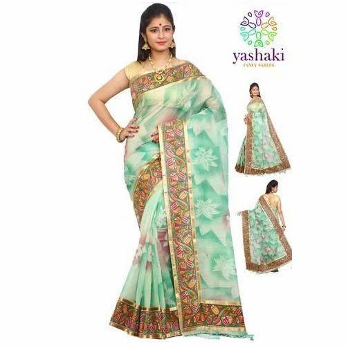 8704449482 Plain Fancy Border Printed Saree, Rs 1000 /piece, Shama Silk House ...