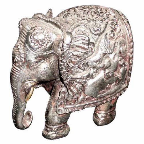 White Metal Shikar Elephant
