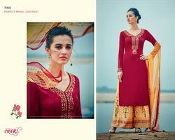 Red Wine Color Straight Salwar Suit