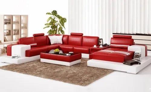 Red U Shape Sofa Set, Warranty: 4 Year