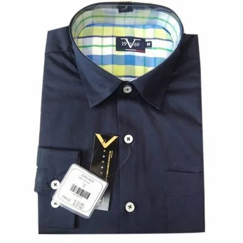 Versace Collar Neck Mens Navy Blue Cotton Shirt, Size: M