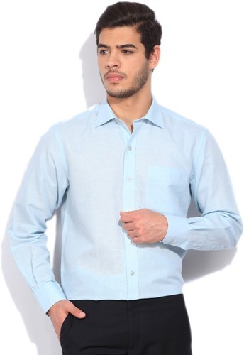 d54e6bd4ee8 Cotton Linen Men  s Sky Blue Formal Shirts