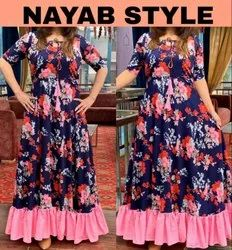 Printed Long Gown Multicolor Nayab Style (Designer Floral Gown)