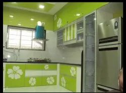 Acrylic L Shape Modular Kitchen