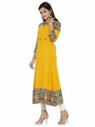 Yash Gallery Women's Cotton Blend Kalamkari Print Kantha Work A-line Kurta