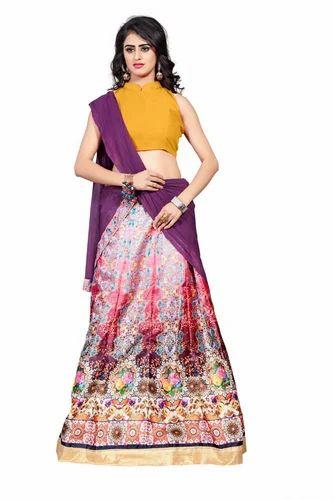 3ccaf181ebc Banglori Satin Digital Print Indian Lehenga Choli, Rs 680 /piece ...