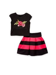 GOTS Yarn Dyed Kids Skirt Top Set