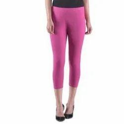 Pink Cotton Ladies Stretchable Legging, Size: Free Size