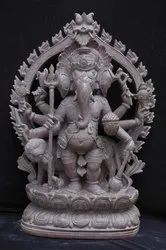 Ganesha On Lion Statue