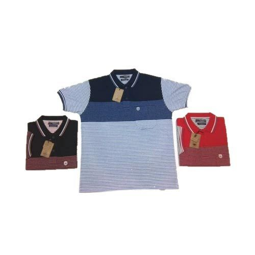 Men Cotton Collar Neck Striped T-Shirt, Size: L to XXL
