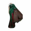 Green & Maroon Khadi Handloom Saree, Length: 6.3 M