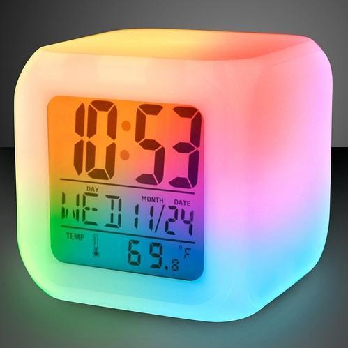 Color Changing Digital Lcd Alarm Table Desk Clock With Calender Time Temperature Lights Multicolour