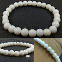 Natural White Opal Round Plain Bracelet