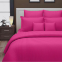 Pink Plain Satin Stripe Bed Sheet