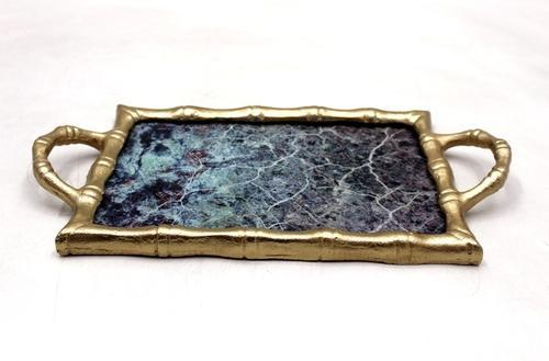 Golden Tray With Handle, Size: 41 X 22 X 4 Cm