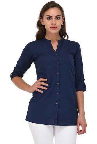 51f57cb77702 Cotton 3 4th Sleeve Navy Blue Ladies Kurti Tops