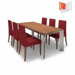 Cubit Homes Wooden Long Dining Table with Six Chairs
