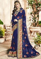 Indigo Blue Embroidered Partywear Saree