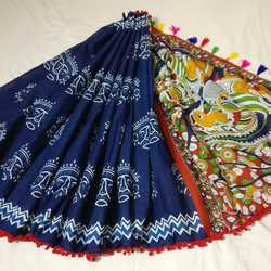Hand Block Batik Saree With Pom Pom