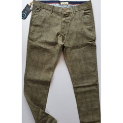Dark Beige Slim fit Check Pattern Men Pants