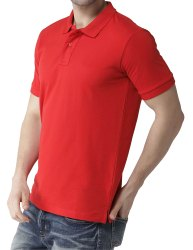 Mens Red Polo Collar Neck T Shirt