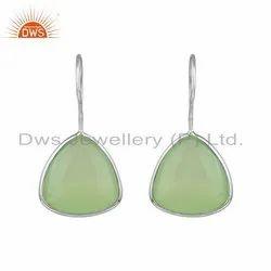 Prehnite Chalcedony Gemstone 92.5 Silver Hook Earrings For Women