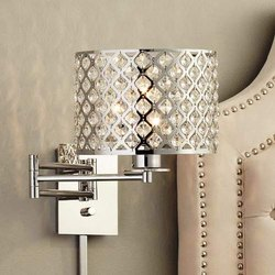 Steel Crystal Round Swing Arm Wall Lamp, For Home Decorate