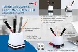 C80  Tumbler With USB Hub Lamp And Mobile Stand Adjustable Lamp Light