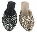 Ladies Footwear Black and Golden