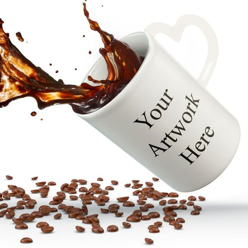Muggd Personalized Heart Handle Ceramic Coffee Mug, Packaging Type: Box