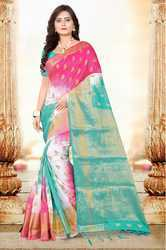 Multicolor Party Wear Banarasi Cotton Silk Saree With Blouse Piece