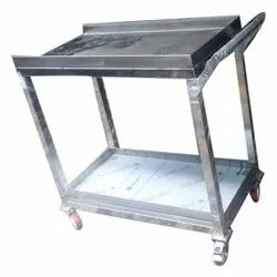 Silver Stainless Steel Kitchen Trolley, Size: 2-3 Ft