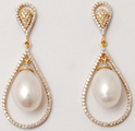 Brilliant Diamond Studded Pearl Centered Pear Shaped Drop Earrings, Weight: 12.422 Gram