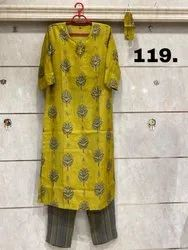 Party Wear Straight Muslin Silk Kurti With Pant, Gentle Wash, Size: S(38) To 5xl(50)
