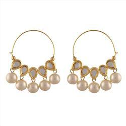 Ankur Angelic Gold Plated with Kundan and Pearl Hoop Earring