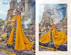 Party Yellow  Designer Printed  Sarees