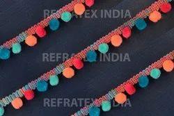 Multi Colour Pom Pom Fringe