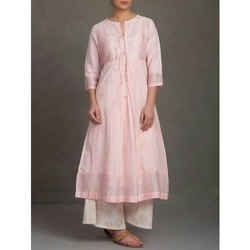 Medium And Large Light Pink Ladies Kurti With Palazzo Set