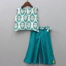 Kids Cotton Printed Palazzo With Tunic Top