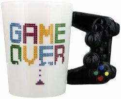 Fancy Game Over Mug With Joystick Shape Handle