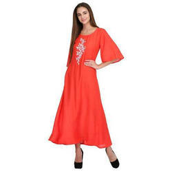 Ladies Half Sleeve Plain Long Kurti 241a3f5b9