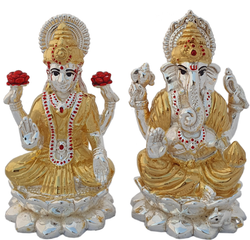 Lakshmi Ganesh 999 Silver Hollow Statue for Home, Size: 4