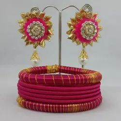 Gota Earring Indian Traditional Silk Thread Bangle Set