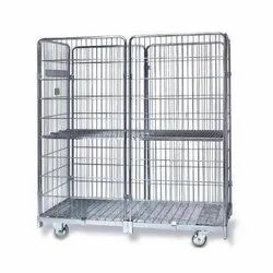 Stainless Steel Material Transport Wire Mesh Trolley