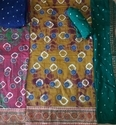 Gulti Batik With Kutchi  Embriodery Work With Lace Border And Salwar Dupatta With Bandhej Work  Suit