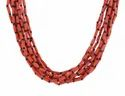 10 String Coral Red Glass Beads With Black Gunmetal Chain Necklace