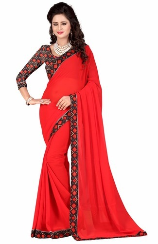 6dd46cb380f38 Party Wear Plain Georgette Saree With Printed Blouse