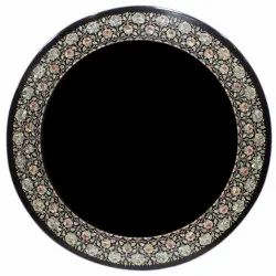 Black Marble Inlay Dining Table Tops, Inlay Marble Table Top